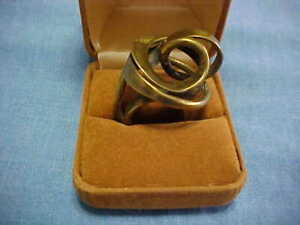 CRAFTSMAN MADE ABSTRACT BRASS SCULPTURE RING HAND FORGED ADJUSTABLE SIZE 7 1/2