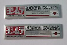 2x Yoshimura Japan Aluminum Plate Decal Exhaust System Sticker Sliver