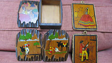 RARE Vintage CHICO Mexico~Mexicana Wooden Bookends, Covered Box & Small Plaques