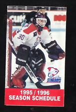 South Carolina Stingrays--1995-96 Pocket Schedule--Hardee's/Coke--ECHL