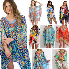 New Women Chiffon Floral Pattern Printed Kaftan Oversized Floaty Top Swimwear
