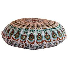 Indian Round Floor Pillow Cover Mandala Peacock Feather Pompom Cotton 32x32 Seat