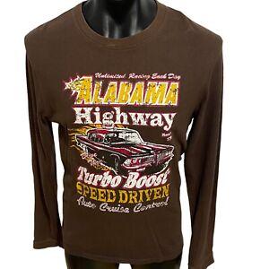 Alabama Highway long sleeve t shirt men's size medium brown speed driven boost