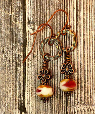 Copper Flower French Wires Boho Chic Artisan Earrings Czech Glass Beads &