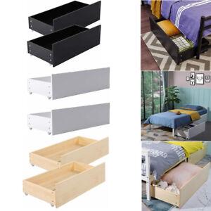 2er Set Bettkasten Unterbett Bettschublade aus Holz mit Rollen, 90 x 47 x 27cm