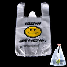 100pcs Carry Out Retail Supermarket Grocery White Plastic Shopping Bag  PR