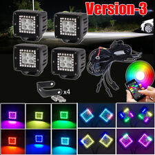 """4x LED Work Light Flood 3"""" inch Cube Pods with Chasing RGB Halo & Wiring Harness"""