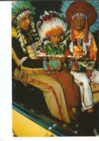 CH-142 Two Native American Indian Chiefs, a Boy and Peace Pipe Chrome Postcard