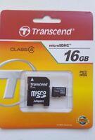 Transcend 4-8-16gb Micro SDHC Memory + adapter Brand New Sealed Sandisk Kingston