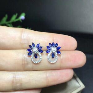 Natural Sapphire Earrings, September Birthstone, 18K White Gold Plated Silver
