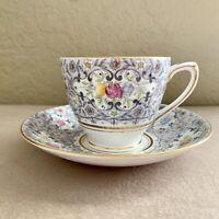Vintage Rosina Bone China Teacup & Saucer 4880 Floral Gold Trim
