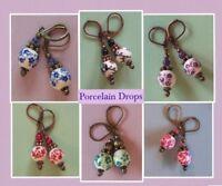 PORCELAIN Flower Drops LEVERBACK Copper or Bronze handcrafted CHOOSE
