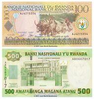 Rwanda 100 + 500 Francs 2003-04 Set of 2 Banknotes 2 pcs UNC
