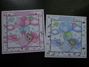 NEW ===  2 x Gorgeous Little It's A Baby Girl / It's A Baby Boy Card Toppers