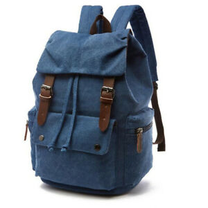 Mens Womens Canvas Backpack Laptop Rucksack Travel Hiking Vintage School Bookbag