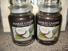 Yankee Candle COCONUT & VANILLA BEAN Set of Two (2) Large Jar 22oz Candles