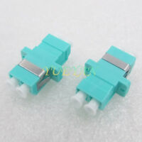 10pcs Optical Fiber Connector LC OM3 Duplex Aqua Fiber Optic Adapter with Ear