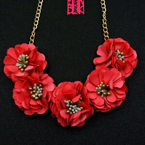 Betsey Johnson Red Flower Charm Woman Pendant Choker Chain Necklace