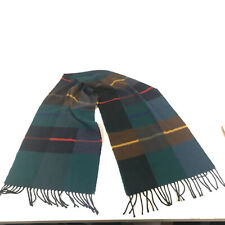 Cashmink Fringed Scarf West Germany Green Blues and Brown - Free Shipping Hbx11