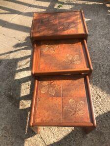 danish teak nest of tables tiled good condition mid century