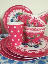 Blooming Beautiful 12 Set Pink Floral Flower Melamine Picnic  Bowls Plates Cup