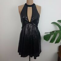 Free People Dress SZ 12 Black Sequin Fit and Flare BNWT OB553498