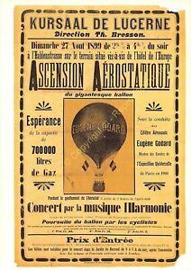 CP AFFICHE KURSAAL DE LUCERNE ASCENSION AÉROSTATIQUE Edit PHOTOGLOB 1431