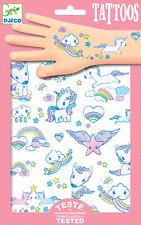 Nube de arco iris Unicornio Tatuajes Temporales Brillo 2 Hojas Regalo Fiesta Niña Adorable