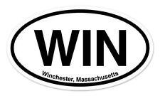 "WIN Winchester Massachusetts Oval car window bumper sticker decal 5"" x 3"""