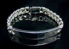 """Bold Men's/Women's Silver Plated Curb Link ID Chain Cuff Bracelet 10mm 8"""""""
