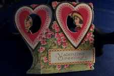 Beautiful Germany Valentine Card Fold Vintage Roses Boy Girl