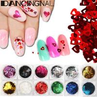 24 Pot/Set Nail Glitter Sequins Heart Shape Flakes Nail Art Paillette Decoration