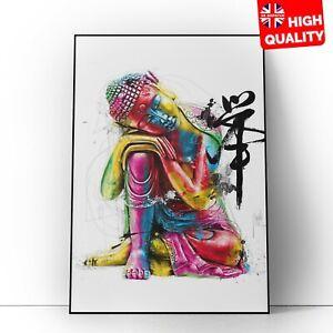 Colourful Buddha Poster Art Buddhist Mandala Print   A5 A4 A3  