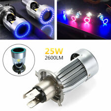 LED Headlights with Halo Angel Eye Ring Hi/Lo Beam H4 Motorcycle COB Bulb 6500K