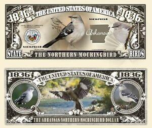 MOQUEUR POLYGLOTTE BILLET MILLION DOLLAR Oiseau Arkansas Etats US Animal Bird of