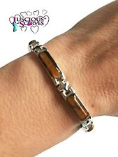 LADIES STRONG BIO SILVER COLOURED ALLOY MAGNETIC HEALING BRACELET BROWN STONEs
