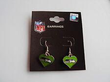 Seattle Seahawks Football GREEN Color Heart Charm NFL Silver Dangle Earrings NEW