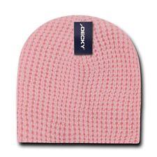 Decky Waffle Knit Beanies Short Uncuffed Braid Crocheted Hats Caps Warm Winter