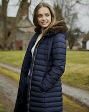 Bnwt Women's Joules Maristow navy blue fur lined hooded coat sz 12
