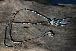 NATIVE AMERICAN DREAMCATCHER 925 STERLING SILVER GEMSTONE & TURQUOISE NECKLACE