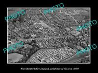 OLD LARGE HISTORIC PHOTO OF WARE HERTFORDSHIRE ENGLAND TOWN AERIAL VIEW c1950 1