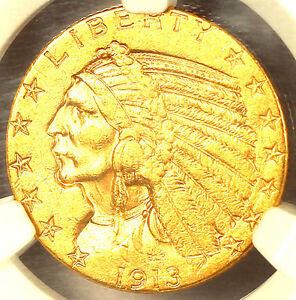 1913-S $5 AU58 NGC/PQ-INDIAN