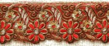 RED & GOLD EMBROIDERED ORGANZA TRIM - SOLD PER METRE - 6.3CM'S WIDE