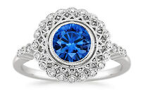 1.50 Ct Natural Diamond Blue Sapphire Gemstone Ring 18K Solid White Gold Size N