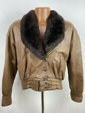 Vintage Nappa Leather Bomber Jacket Men Small Brown Removable Shawl Collar ITALY
