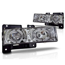 For Cheverlot GMC C10 Halo Clear Projector Lens Chrome Housing Head Lights Lamps