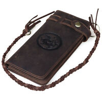 Men's Thick Vintage Leather Long Wallet Bifold Purse with Chain Cowboy Bicycle