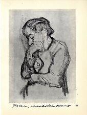 Die deutsche Künstlerin Käthe Kollwitz Frau nachdenkend Frau...Histor.Grafik1930