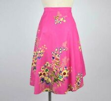 Vtg 90s Hot Pink Sequin Wrap Skirt Beaded Floral Bamboo Asian Print Size M