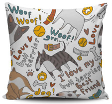 I Love My Bull Terrier Pillow Cover